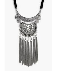 Boohoo - Metallic Hollie Statement Tasseled Plaque Necklace - Lyst