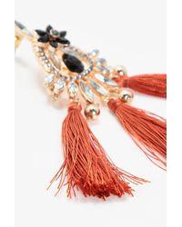 Boohoo - Red Tia Flower Gem And Diamante Tassel Earring - Lyst