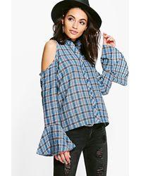 Boohoo - Blue Annabel Flute Sleeve Cold Shoulder Check Shirt - Lyst