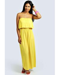 Boohoo - Yellow Casey Bandeau Frill Top Maxi Dress - Lyst