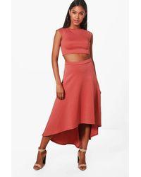 24fd431b0f Boohoo Heather Dip Hem Skirt & Crop Top Co-ord Set in Red - Lyst