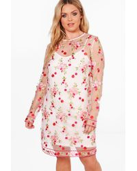 Boohoo - White Plus Nancy Embroidered Mesh Shift Dress - Lyst