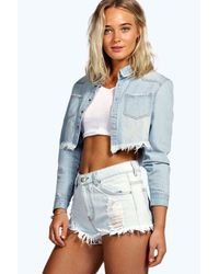 Boohoo | Jen Light Blue High Waist Ripped Denim Hotpants | Lyst