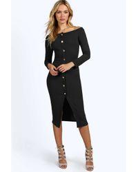 Boohoo | Red Tara Crepe Off The Shoulder Button Midi Dress | Lyst