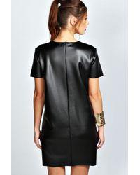 8097313b0207 Lyst - Boohoo Kate Pu Lazer Cut Dress in Black