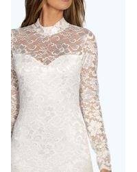 Boohoo - White Imogen Lace High Neck Bodycon Dress - Lyst