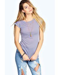 Boohoo | Blue Olivia Roll Back Slub Tshirt | Lyst