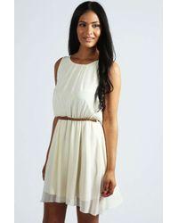 Boohoo - White Frankie Sleeveless Chiffon Belted Skater Dress - Lyst