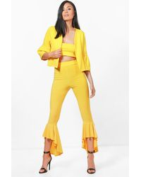 Boohoo - Yellow Cece 3pc Trouserbandeau&jacket Co-ord - Lyst