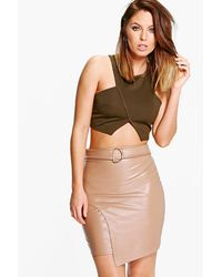 Boohoo - Brown Asha D Ring Leather Look Mini Skirt - Lyst