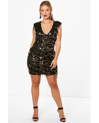 Lyst - Boohoo Plus Sasha Plunge Neck Batwing Sequin Dress in Black 2abefbf77