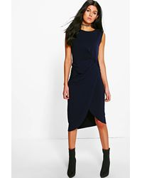 Boohoo - Blue Lexi Drape Midi Dress - Lyst