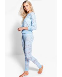 Boohoo - Blue Megan Floral Lace And Mesh Lounge Set - Lyst
