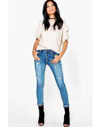 Boohoo - Blue Mid Rise Skinny Jeans - Lyst