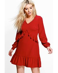 Boohoo - Red Jian Long Sleeve Ruffle Tea Dress - Lyst