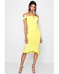 e472aa525f0f Lyst - Boohoo Off The Shoulder Frill Hem Midi Dress in Yellow