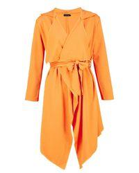 Boohoo - Orange Lily Waterfall Crepe Jacket - Lyst