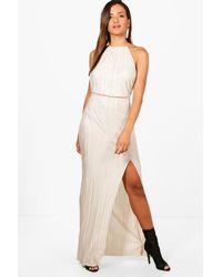 47d142e93c338 Boohoo Pletaed Thigh Split Maxi Dress - Lyst