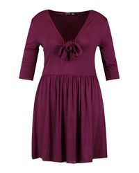 Boohoo - Purple Plus Sleeved Knot Front Swing Dress - Lyst
