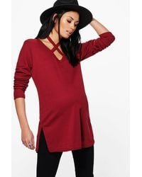 Boohoo | Red Maternity Grace Cross Neck Straw Ribbed Jumper | Lyst