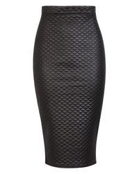 Boohoo - Black Rosie High Waist Quilted Bodycon Midi Skirt - Lyst