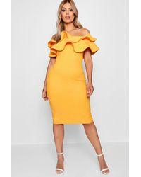 1c7ffd8e9775 Boohoo Plus Milly Double Ruffle Midi Dress in Yellow - Lyst