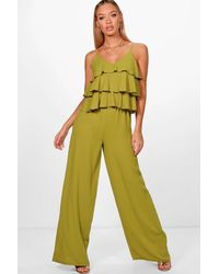 3afd066d9d72 Boohoo Ruffle Strappy Wide Leg Jumpsuit in Green - Lyst