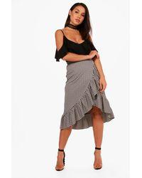 Boohoo - Black Gabriella Ruffle Front Jacquard Midi Skirt - Lyst