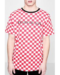 Boohoo - Red Tyga Tears Of Joy Checkerboard T-shirt for Men - Lyst