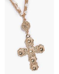 Boohoo - Metallic Katie Statement Cross Pearl And Chain Necklace - Lyst