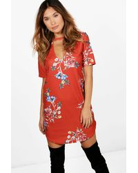 Boohoo - Red Claire Choker Floral Curved Hem Shift Dress - Lyst
