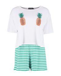 Boohoo - White Pineapple Pj Short Set - Lyst