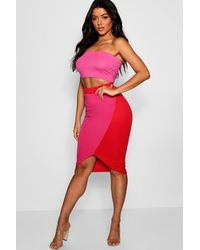 398a7d2a83 Boohoo Colour Block Scuba Midi Skirt in Pink - Lyst