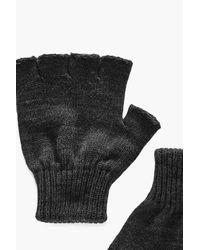 Boohoo Gray Fingerless Gloves for men