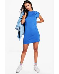 Boohoo - Blue Elvira Cut Out Shoulder Shift Dress - Lyst