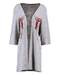 Boohoo - Gray Holly Floral Embroidered Kimono Cardigan - Lyst