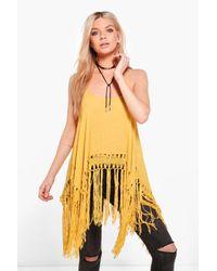 Boohoo | Yellow Freyja Crochet Tassel Vest | Lyst