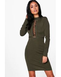 Boohoo - Green Molly Caged Ribbed Bodycon Dress - Lyst