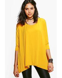 Boohoo | Yellow Faye Hem Detail T-shirt | Lyst