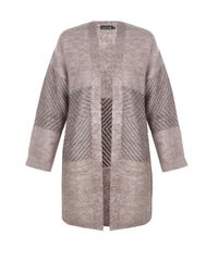 Boohoo - Natural Charlotte Chevron Knit Cardigan - Lyst