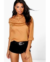 Boohoo - Multicolor Lexi Ruffle Front Shirt - Lyst