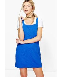 Boohoo - Blue Darcy Textured Fabric Pinafore Dress - Lyst