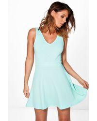 Boohoo - Blue Hannah Textured Skater Dress - Lyst