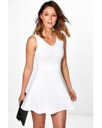 Boohoo - White Hannah Textured Skater Dress - Lyst