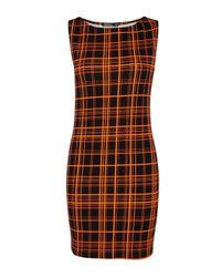 Boohoo - Brown Eleanor Neon Check Sleeveless Mini Dress - Lyst