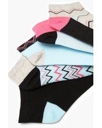 Boohoo - Blue 5 Pack Glitter Zig Zag Trainer Socks - Lyst