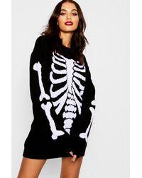 df0ad4b45d Boohoo Halloween Skeleton Knitted Jumper Dress in Black - Lyst
