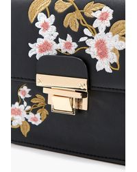 Boohoo - Black Embroidery And Lock Cross Body - Lyst