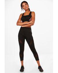 Boohoo | Black Leah Fit Mesh Insert Capri Running Leggings | Lyst