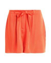 Boohoo - Orange Tie Belt Tailored Shorts - Lyst